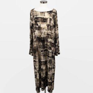 bryn Walker Beige Black Scratch Lagenlook Dress